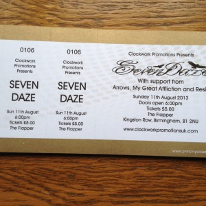 flapper ticket 11th august 2013